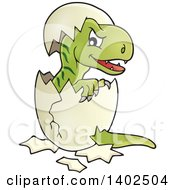 Clipart Of A Hatching T Rex Dinosaur Royalty Free Vector Illustration