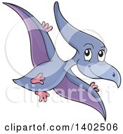 Clipart Of A Flying Pterodactyl Dinosaur Royalty Free Vector Illustration