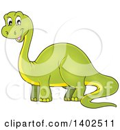 Clipart Of A Happy Green Apatosaurus Dinosaur Royalty Free Vector Illustration