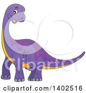 Clipart Of A Happy Purple Apatosaurus Dinosaur Royalty Free Vector Illustration