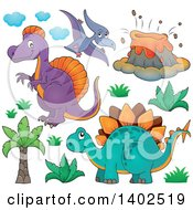 Clipart Of Prehistoric Dinosaurs Royalty Free Vector Illustration