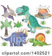 Clipart Of Dinosaurs And A Volcano Royalty Free Vector Illustration
