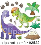 Clipart Of Dinosaurs Royalty Free Vector Illustration