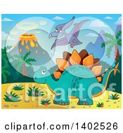 Clipart Of A Stegosaur Dinosaur And Pterodactyl In A Volcanic Landscape Royalty Free Vector Illustration
