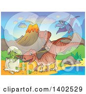 Clipart Of Dinosaurs In A Volcanic Landscape Royalty Free Vector Illustration