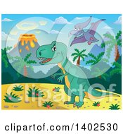 Clipart Of Pterodactyl And T Rex Dinosaurs In A Volcanic Landscape Royalty Free Vector Illustration
