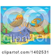 Clipart Of A Triceratops Dinosaur And Parasaurolophus In A Volcanic Landscape Royalty Free Vector Illustration