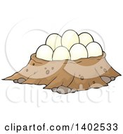 Clipart Of A Dinosaur Nest With Eggs Royalty Free Vector Illustration by visekart
