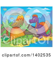 Dinosaurs In A Volcanic Landscape
