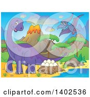 Clipart Of Apatosaurus And Pterodactyl Dinosaurs In A Volcanic Landscape Royalty Free Vector Illustration by visekart