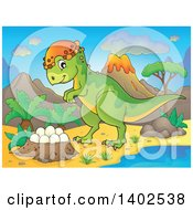 Clipart Of A Pachycephalosaurus Dinosaur And Nest Of Eggs By A Volcano Royalty Free Vector Illustration
