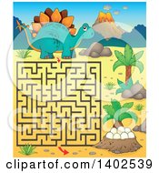 Clipart Of A Stegosaur Dinosaur Maze Royalty Free Vector Illustration