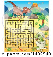 Clipart Of A Raptor And Hatching Baby Maze Royalty Free Vector Illustration by visekart