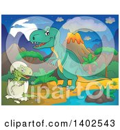 Tyrannosaurus Rex Dinosaur And Hatching Baby In A Volcanic Landscape At Night