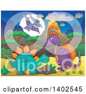 Pterodactyl Stegosaur And Spinosaurus Dinosaurs In A Volcanic Landscape At Night