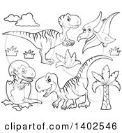Clipart Of Black And White Lineart Dinosaurs Royalty Free Vector Illustration