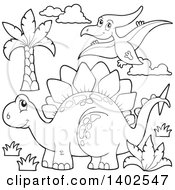 Clipart Of A Black And White Lineart Stegosaur Dinosaur And Pterodactyl Royalty Free Vector Illustration