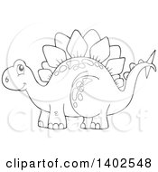 Clipart Of A Black And White Lineart Stegosaur Dinosaur Royalty Free Vector Illustration
