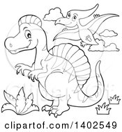 Clipart Of Black And White Spinosaurus And Pterodactyl Dinosaurs Royalty Free Vector Illustration