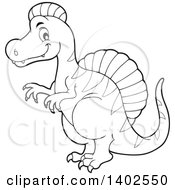 Clipart Of A Black And White Lineart Spinosaurus Dinosaur Royalty Free Vector Illustration