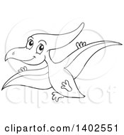 Clipart Of A Black And White Lineart Flying Pterodactyl Dinosaur Royalty Free Vector Illustration