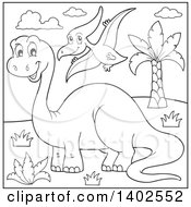 Clipart Of Black And White Lineart Apatosaurus And Pterodactyl Dinosaurs Royalty Free Vector Illustration by visekart