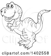Clipart Of A Black And White Lineart Tyrannosaurus Rex Dinosaur Royalty Free Vector Illustration