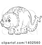 Clipart Of A Black And White Lineart Triceratops Dinosaur Royalty Free Vector Illustration