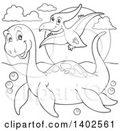 Clipart Of Black And White Lineart Pliosaur And Pterodactyl Dinosaurs Royalty Free Vector Illustration