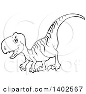 Clipart Of A Black And White Lineart Raptor Dinosaur Royalty Free Vector Illustration