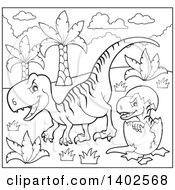 Clipart Of A Black And White Lineart Raptor Dinosaur And Hatching Baby Royalty Free Vector Illustration