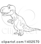 Clipart Of A Black And White Lineart Tyrannosaurus Rex Dinosaur Royalty Free Vector Illustration by visekart