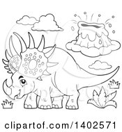 Clipart Of A Black And White Lineart Triceratops Dinosaur And Volcano Royalty Free Vector Illustration