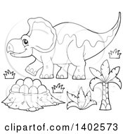 Clipart Of A Black And White Lineart Triceratops Dinosaur And Eggs In A Nest Royalty Free Vector Illustration