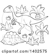 Clipart Of A Black And White Lineart Raptor Dinosaur And Eggs Royalty Free Vector Illustration