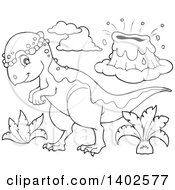 Clipart Of A Black And White Lineart Pachycephalosaurus Dinosaur And Volcano Royalty Free Vector Illustration