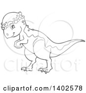 Clipart Of A Black And White Lineart Pachycephalosaurus Dinosaur Royalty Free Vector Illustration