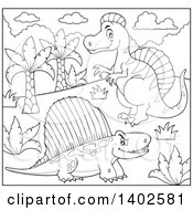 Clipart Of Black And White Lineart Spinosaurus And Pelycosaur Dinosaurs Royalty Free Vector Illustration