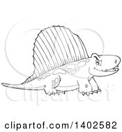 Clipart Of A Black And White Pelycosaur Dinosaur Royalty Free Vector Illustration