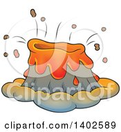 Clipart Of A Volcano Erupting Royalty Free Vector Illustration