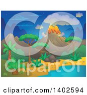 Clipart Of A Prehistoric Landscape Of A Volcano Erupting And A Tropical Shore At Night Royalty Free Vector Illustration