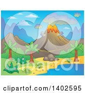 Clipart Of A Prehistoric Landscape Of A Volcano Erupting And A Tropical Shore Royalty Free Vector Illustration by visekart