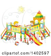 Clipart Of A Group Of Happy White Children Playing On A Playground Royalty Free Vector Illustration
