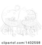 Clipart Of A Black And White Lineart Group Of Happy Caucasian Children Playing On A Playground Royalty Free Vector Illustration