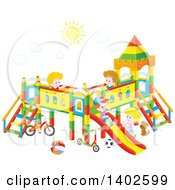 Clipart Of A Group Of Happy Caucasian Children Playing On A Playground Royalty Free Vector Illustration