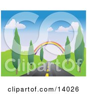 Colorful Rainbow Spanning Over A Strait Tree Lined Road Clipart Illustration by Rasmussen Images #COLLC14026-0030