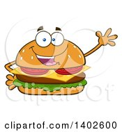 Clipart Of A Cheeseburger Character Mascot Waving Royalty Free Vector Illustration by Hit Toon