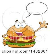 Clipart Of A Cheeseburger Character Mascot Talking And Waving Royalty Free Vector Illustration