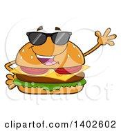 Clipart Of A Cheeseburger Character Mascot Wearing Sunglasses And Waving Royalty Free Vector Illustration