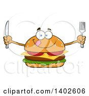 Clipart Of A Hungry Cheeseburger Character Mascot Holding Cutlery Royalty Free Vector Illustration